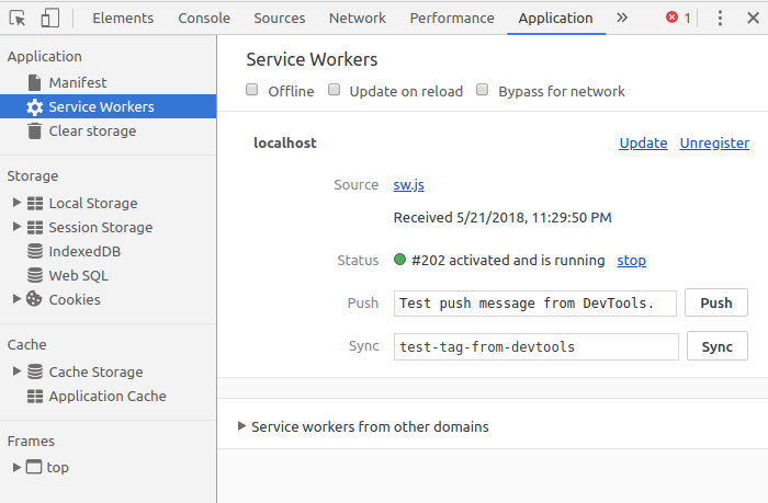 Daftar service worker di Chrome developer tools
